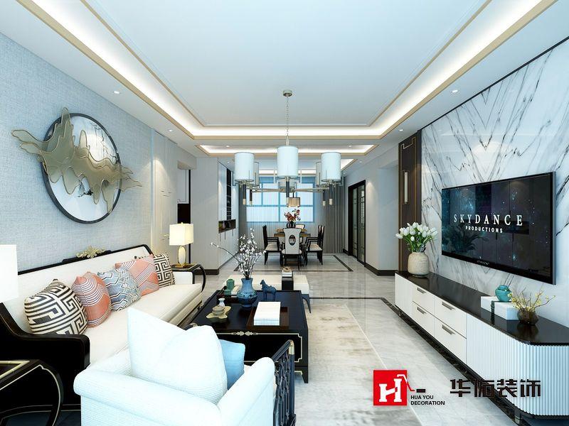 星际荣域三室两厅新中式风格装修效果图